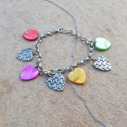 Ladies Multi Colour Heart Charm Bracelet