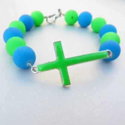 Large Bead Neon Green & Blue Bracelet with Cross