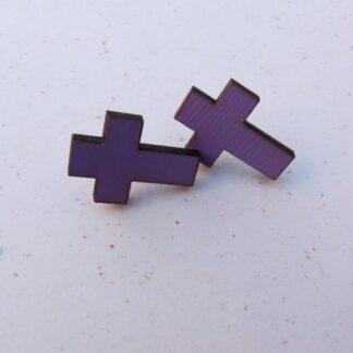 Purple Cross Earrings 2.5cm