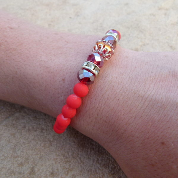 Red Glass Bead Bracelet with Crystals