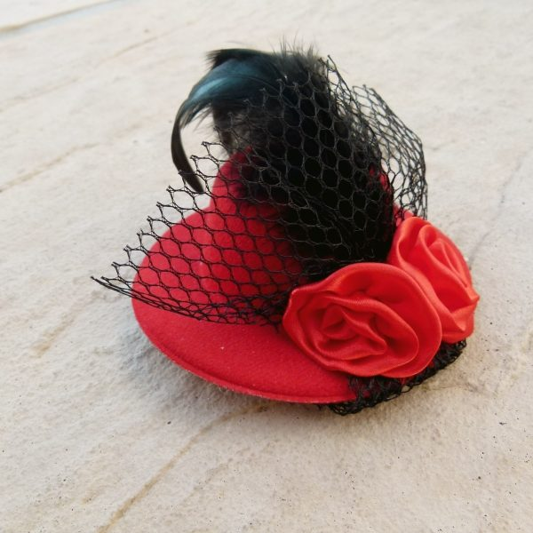 Red Mini Clip on Hat with Feather