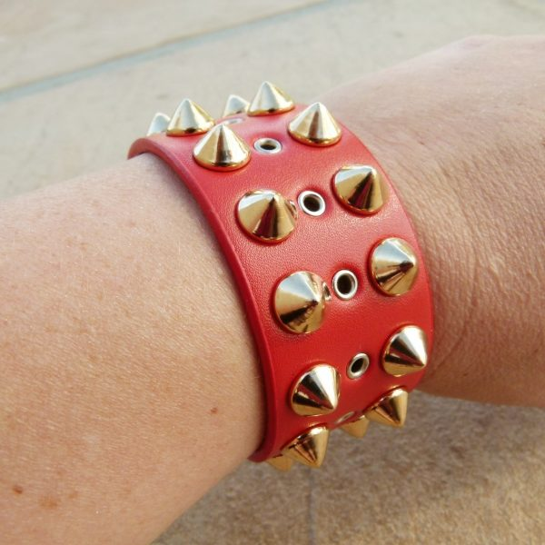 Red Punk Stud Bracelet on Arm