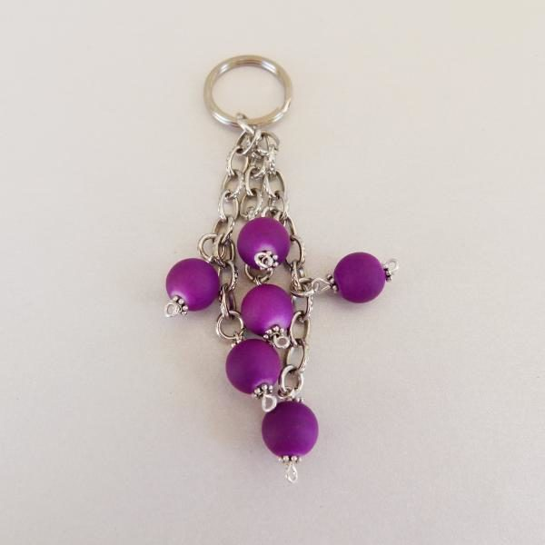 Keyring with Purple Beads