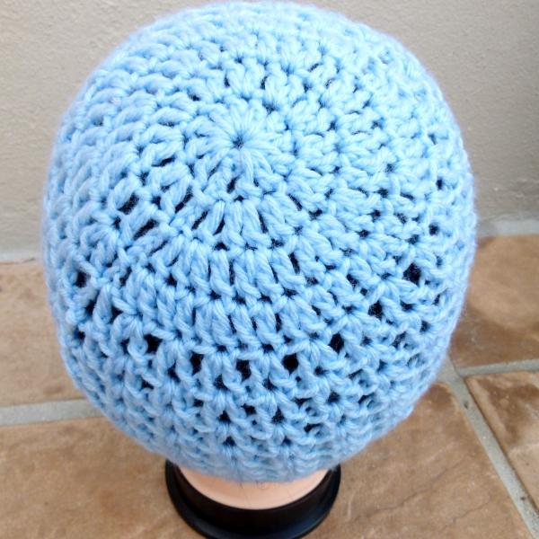 Blue Crochet Ladies Hat with Blue Flower Detail Back