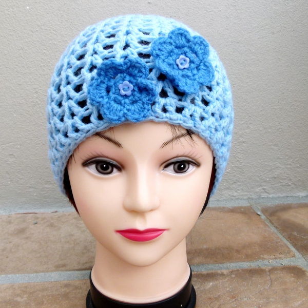 Blue Crochet Ladies Hat with Blue Flower Detail Front
