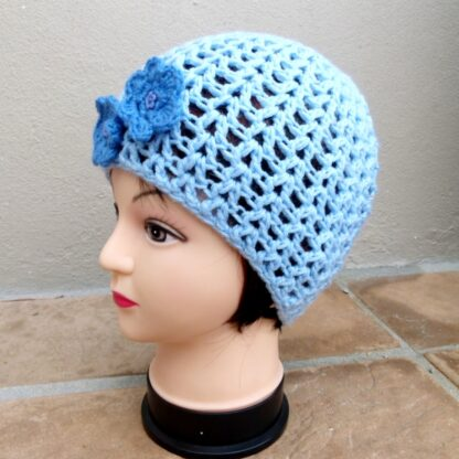Blue Crochet Ladies Hat with Flower Detail Side