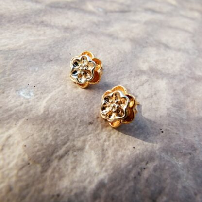 Flower Stud Earrings 2 Tone 9K Gold Plated Pic 2