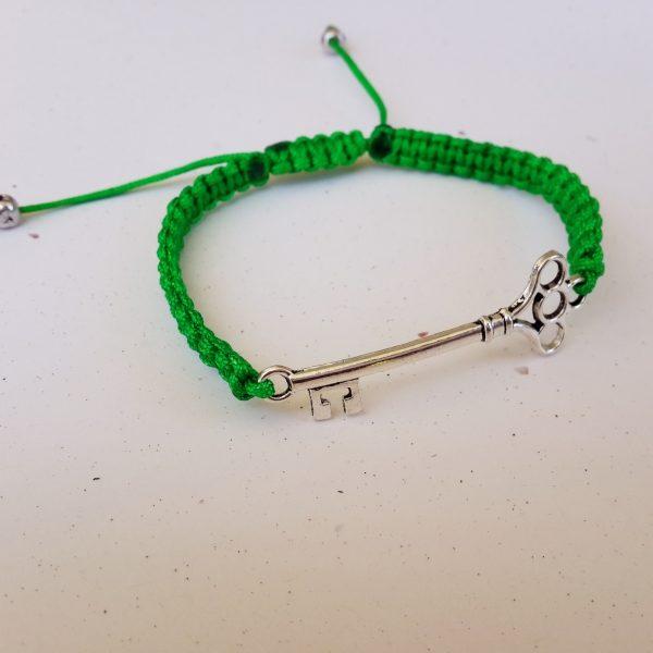 Green Woven Key Bracelet