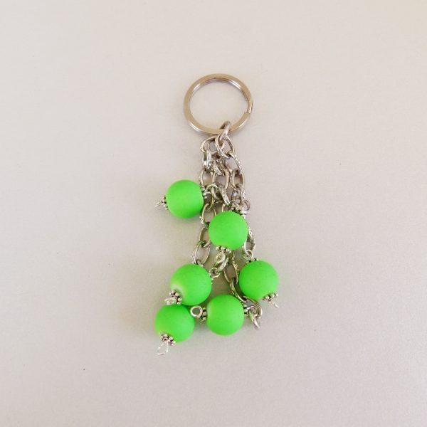 Handmade Keyring with Neon Green Glow Beads