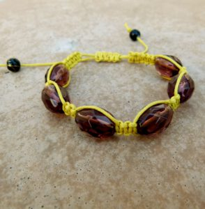 Yellow Woven Bracelet with Maroon Glass Beads (Handmade by Lilla-Rose)