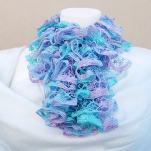 Blue & Lilac Knitted Scarf (Handmade by Lila)
