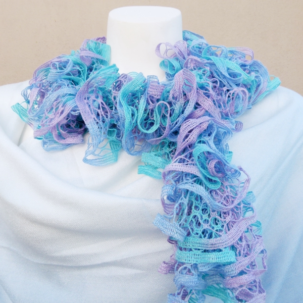 Blue & Lilac Knitted Scarf (Handmade by Lila) 3