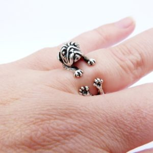 Pug Ring on Finger
