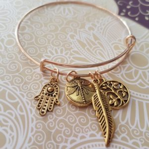 4 Charm Bangle (Hamsa, Feather, Tree, Love)