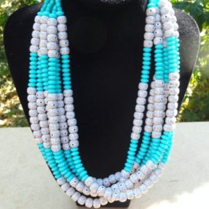 Dotted Peekaboo and Turquoise Necklace