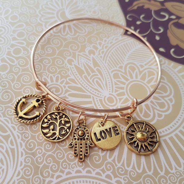 5 Charm Bangle (Hamsa, Anchor, Tree, Love, Sun)