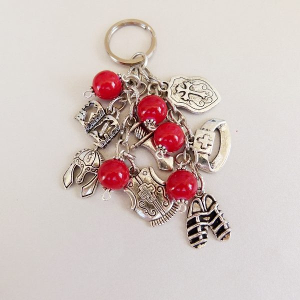 Armour of God Key Ring with Red Beads