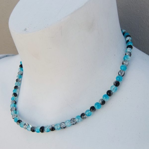 Black & Blue Glass Crackle Necklace Style 2