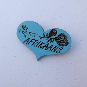 Blue Engraved Heart – My Hart is Afrikaans Brooch