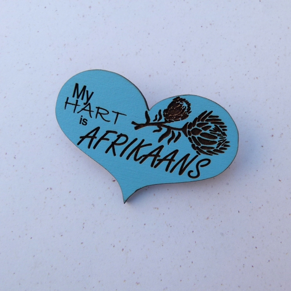 Blue Engraved Heart - My Hart is Afrikaans Brooch