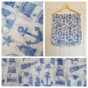 Blue & White Nautical Themed Scarf