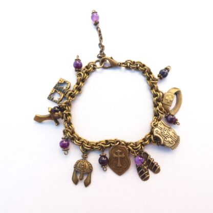 Bronze Chunky Armour of God Bracelet with Purple Beads - Handmade by Marietjie