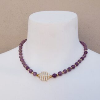 Gold & Purple Beaded Necklace Front