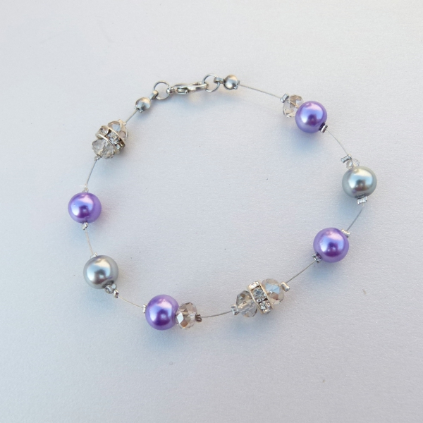Purple & Silver Bracelet with Crystals LIL699 R40