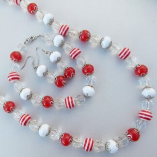 Red & White Necklace, Bracelet & Earring Set LIL639
