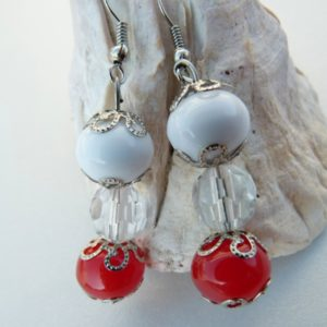 Red & White Necklace, Bracelet & Earring Set LIL639 Earrings