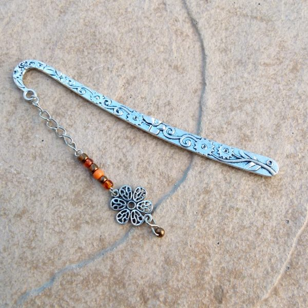 Silver Bookmark with Flower & Orange & Gold Beads