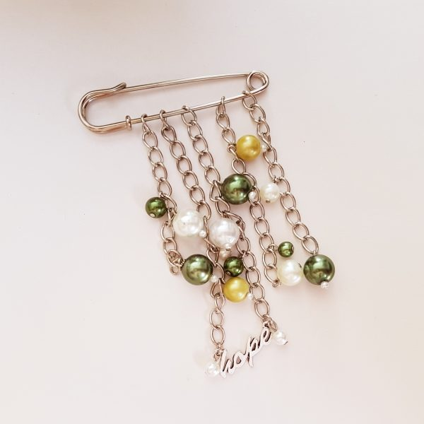 Hope Scarf Pin with Green & White Glass Pearls