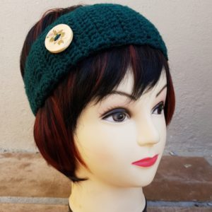 Dark Green Earwarmer with large Button