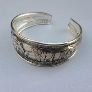 Tibetan Silver Cuff Elephant Bracelet