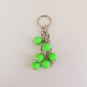 Keyring with Neon Green Glow Beads