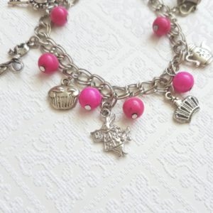 Alice Inspired Charm Bracelet with Pink Beads