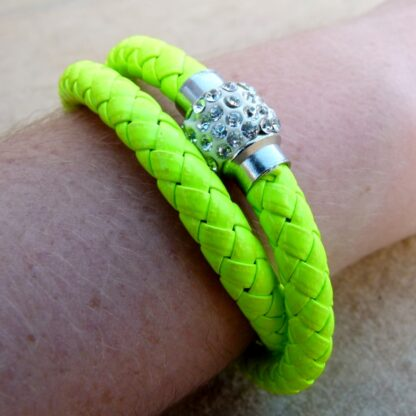 Neon Yellow Double Wrap Bracelet with Magnetic Clasp