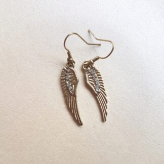 Angel Wing Earrings with Diamante