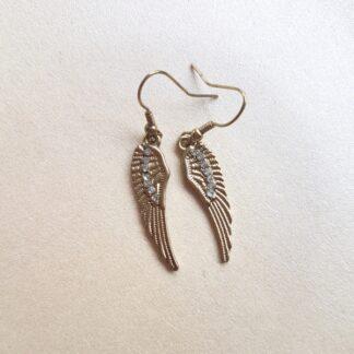 Angel Wing Earrings with Diamante