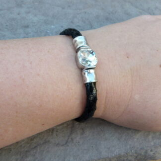 Black Magnetic Clasp Bracelet with Bling on Arm